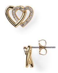 Nadri - Metallic Double Heart Stud Earrings - Lyst