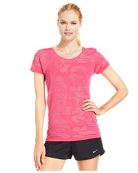 Nike | Pink Knit Contrast Dri-fit Short-sleeve Top | Lyst