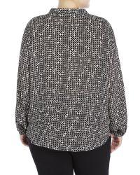 Max Studio - Black Printed Long-sleeve Blouson Blouse - Lyst