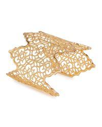 Isharya | Metallic Filigree Spoke 18Kt Gold Plated Cuff | Lyst