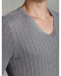 John Varvatos Gray Plaited Long Sleeve Cable Sweater for men