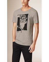Burberry Gray Gentleman Of London Graphic Cotton T-shirt for men