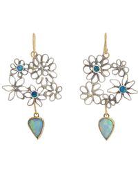 Judy Geib Green Opal Flowery Double-drop Earrings