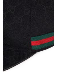 Gucci Black Monogrammed Canvas And Leather Cap for men