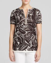 Tory Burch Brown Leaf Print Linen Tunic