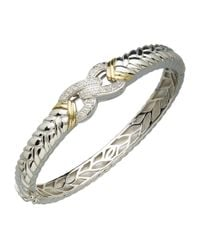 Lord & Taylor | Metallic Sterling Silver And 14k Yellow Gold Diamond Bangle | Lyst