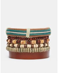 ASOS | Brown Leather Bracelet Pack With Green Beads for Men | Lyst