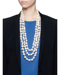 Kenneth Jay Lane White Triple Strand Baroque Pearl Necklace