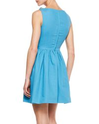 RED Valentino Blue Pique Dress with Leather Floral Neckline
