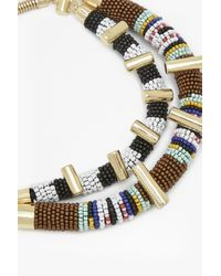 French Connection - Metallic Tribal Bead Necklace - Lyst