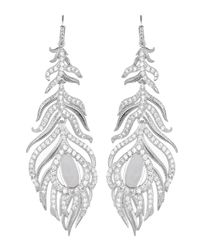 Kendra Scott | White Pave Linear Druzy Feather Earrings | Lyst