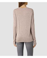 AllSaints - Natural Heny Long Sleeved Tee - Lyst