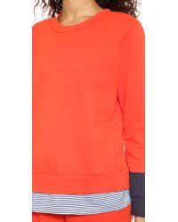 CLU Orange Too Color Block Sweatshirt - Red/Navy Stripe