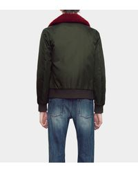Gucci Green Water Repellent Twill Nylon Jacket With Shearling Collar for men