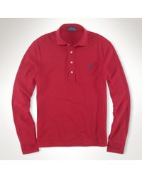 Polo Ralph Lauren | Red Estate Long-sleeved Mesh Polo for Men | Lyst