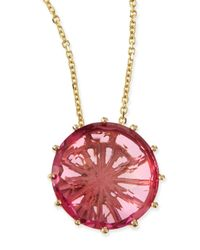 KALAN by Suzanne Kalan | Red 12mm Round Pink Topaz Pendant Necklace | Lyst