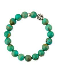 Lagos   Blue 10Mm Caviar-Ball Turquoise Beaded Stretch Bracelet   Lyst