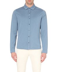 Michael Kors | Blue Birdseye Regular-fit Cotton Shirt - For Men for Men | Lyst