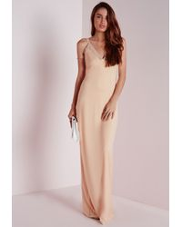 Missguided Natural Mesh Detail Crepe Maxi Dress Nude