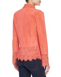 Bagatelle - Pink Suede Jacket W/ Laser-cut Scalloped Detail - Lyst