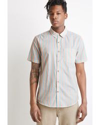 Forever 21 | Blue Awning-striped Shirt for Men | Lyst