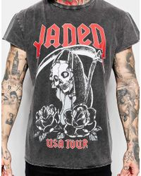Jaded London | Gray Longline T-shirt With Tour Print for Men | Lyst