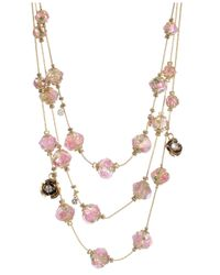 Betsey Johnson | Pink Flower Bead Layered Illusion Necklace | Lyst