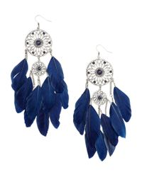 H&M | Blue Earrings with Feathers | Lyst