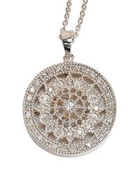 Effy | Metallic Pave Classica 14k White Gold Diamond Medallion Pendant Necklace | Lyst