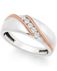 Macy's | Metallic Men's Diamond (1/4 Ct. T.w.) Two-tone Ring In 10k Gold | Lyst