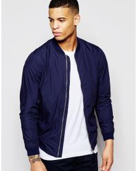 Pull&Bear - Blue Bomber Jacket In Navy for Men - Lyst