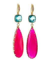 Indulgems | Crystal & Pink Chalcedony Teardrop Earrings | Lyst
