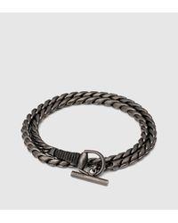 Gucci - Metallic Silver Horsebit Bracelet With Leather Wrap - Lyst