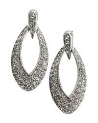 Ben-Amun | Metallic Silver And Crystal Marquis Loop Earrings | Lyst