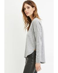 Forever 21   Gray Contemporary Dropped-hem Wool Sweater   Lyst