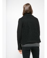 Mango - Black Tweed Biker Jacket - Lyst