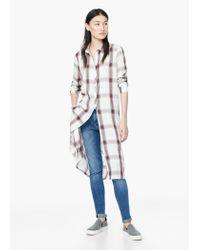 Mango | White Check Shirt | Lyst