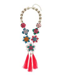 TOPSHOP | Multicolor Layered Flower Tassel Necklace | Lyst