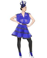 Jean Paul Gaultier Blue Zipped Silk Crepe Dress
