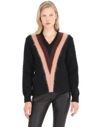 COACH | Purple Color Block Mohair Blend V Neck Sweater | Lyst