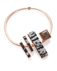 Eddie Borgo | Pink Zebra & Leopard Jasper Composition Collar Necklace | Lyst