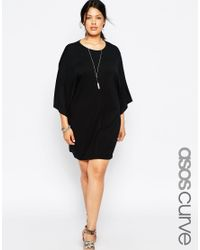 ASOS | Black T-shirt Dress With Kimono Sleeves | Lyst