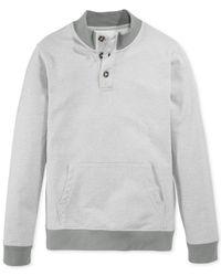 American Rag | Gray Henley Fleece Pullover for Men | Lyst