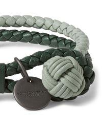 Bottega Veneta Green Two-Tone Intrecciato Leather Wrap Bracelet for men