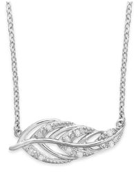 Macy's | Metallic Diamond Feather Pendant Necklace In Sterling Silver (1/10 Ct. T.w.) | Lyst