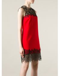 Christopher Kane Red Macrame Shift Dress