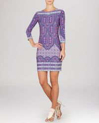 BCBGMAXAZRIA - Purple Dress - Calico Printed Shift - Lyst