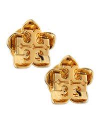 Tory Burch | Metallic Cecily Golden Flower Stud Earrings | Lyst