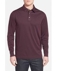 John W. Nordstrom Purple Long Sleeve Pique Polo With Faux Suede Trim for men
