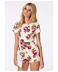 Missguided - Pink Serapia Rose Print Playsuit - Lyst